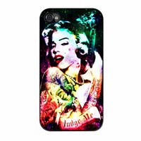 Marilyn Monroe Tattooed Flower With Pistol Gun Collage iPhone 4 Case