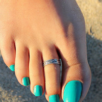 Retro Old Silver Toe Ring Ring Gift 171