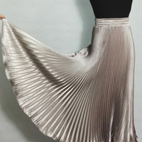 Metal Gloss Pleated Champagne Smooth Bright Silk Midi 2016 Satin ladies maxi Long tulle Skirts chiffon womens summer