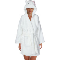 Hello Kitty Womens Juniors Bow City Plush Hooded Short Robe
