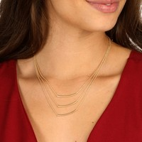 Sale-gold Layered Curve Bar Necklace