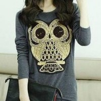 COOL GREY OWL PRINT TOP