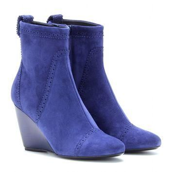 balenciaga - suede wedge brogue ankle boots
