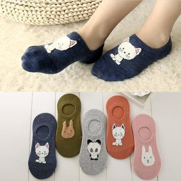 5 Paris/lot Cotton Women Invisible Socks Cute Cat Bunny Slippers Sock for Summer