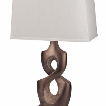 Appealing Poly Resin Table Lamp, Brown, Set of 2