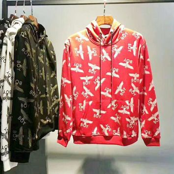 BOY Fashion Casual Sport Long Sleeve Hooded Pullover Print Sweater G-WMGCD