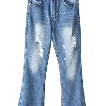 Blue Distressed Rip Detail Frayed Hem Crop Flared Jeans
