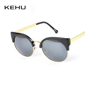 KEHU New Super Retro Coating Glasses Half Metal Rim Vintage Women Sunglasses Cateyes Designer Eyeglasses For Girls Oculos