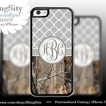 Monogram Iphone 5C case iPhone 5s  iPhone 4 case Ipod 4 5 Touch case Real Tree Camo Gray Grey Quatrefoil Personalized Country Girl