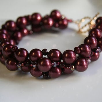 Marsala Pearl and Crystal Beaded Bracelet,Women's Holiday Bracelet,Handwoven Beaded Bracelet,Heirloom Gift,Fall and Winter Color Bracelet