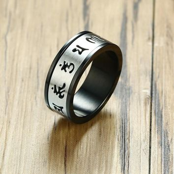 MANTRA Meditation Spinning Ring for Men Stainless Steel Tibetan Buddhist Six True Syllable Mantra Om Mani Padme Hum Jewelry