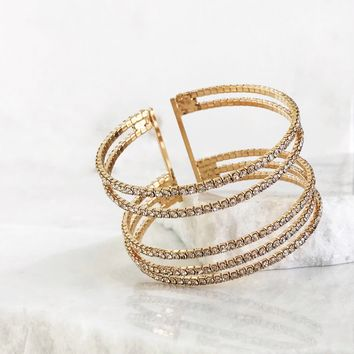 Layered Crystal Bracelet in Gold