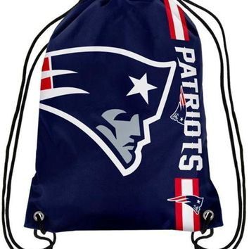 CREY6F New England Patriots Champion Drawstring Bags Men Backpack Digital Printing Pouch Customize Bags 35*45cm Sports Fan Products