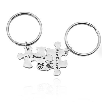 Jigsaw Best Friend KeyChain  Letter His Beauty Her Beast Silver Metal Key Chain Jewelry BBF Couple Lovers' Gifts Drop Shipping