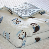 Large Minky Blanket -  Blue and Chocolate Brown Owl Print with Baby Blue Minky Dot