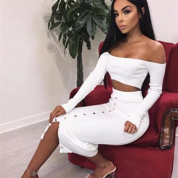 Women rivet patchwork long sleeve off shoulder crop top long skirt 2 piece set for female women two pieces sets women's suits