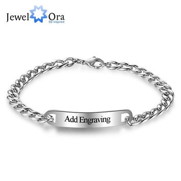 Personalized ID Braceles Custom Engrave Name Silver Stainless Steel Charm Bracelets & Bangles For Women & Men(JewelOra BA101854)