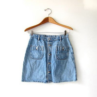 Vintage Jean Skirt. Button Front Skirt. Mini Jean Skirt. 90s Denim Skirt.