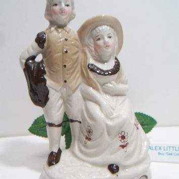 Vintage Brown Beige Colonial Courting Couple Figurine Victorian Floral Shabby Chic Cottage