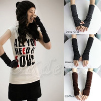 Winter Fall Long Soft Knit Arm Leg Women Fingerless Gloves Winter Mitten Warmer = 1957991940