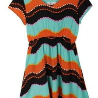 Women V-Neck Short Sleeve Chiffon Multi-Colored Irregular Stripeed Dress S/M/L/XL@A4026