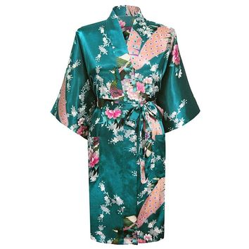 Hot New Pink Chinese Bridesmaid Wedding Robe Faux Silk Kimono Gown Printed Nightgown Sleepwear Flower S M L XL XXL XXXL BR012