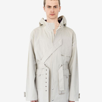 Silver Scale Longline Hooded Jacket in Silver