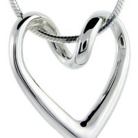 Sterling Silver Floating Heart Necklace Flawless Quality, 3/4 x 3/4 inch wide: Jewelry: Amazon.com