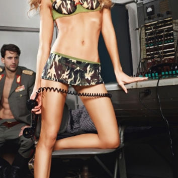 Camo Army Bra and Mini Skirt Costume