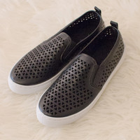 Black Cut Out Slip On Sneakers