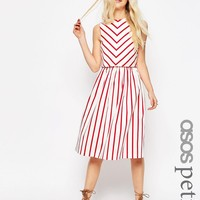 ASOS PETITE Stripe Picnic Dress with Double Layer at asos.com