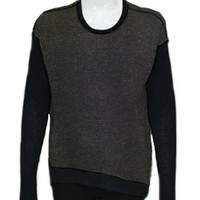 Wilt Silk/Cashmere Back Slant Top With Rib Sleeves in Black | ShopAmbience