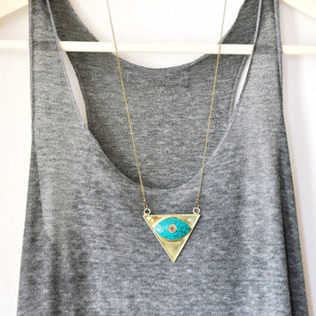 Turquoise Tibetan Brass Pendant Necklace, Boho necklace, layered necklace, long necklace, Teardrop Pendant