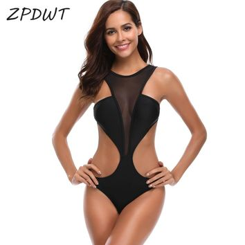 ZPDWT Sexy Bathing Suit Mesh Monokini High Neck Trikini Bandage Swimwear Women One Piece Swimsuit New Swimming Suit for Women