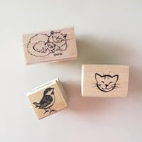 80s Vintage Novelty Stamp Set / Children's Crafts / Rubber Ink Stamps / Collectible Stamps / Set of 3 / Craft Supplies Tools