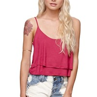 LA Hearts Layered Swing Tank - Womens Tees - Red -