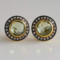 Green Amethyst Pavé White Topaz Round cut Earrings - faceted natural gemstone - February Birthstone