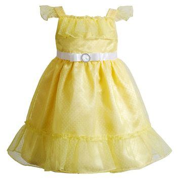 Youngland Flocked Dot Ruffle Dress - Girls