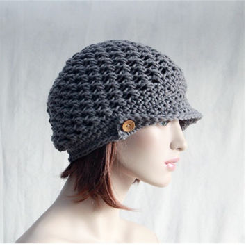 Newsboy Hat Womens Slouchy Hat Brimmed Beanie Hand Crochet Chemo Hat Chunky Grey Newsboy Hat Spring Fashion Womens  Accessory