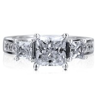 Sterling Silver 925 Princess Cut Cubic Zirconia CZ 3-Stone Ring #r617