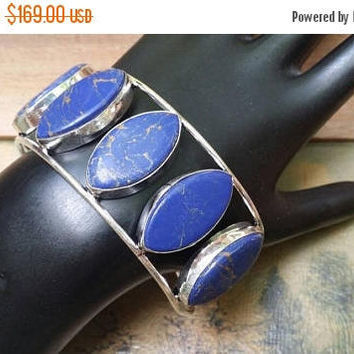 80%OFF SUMMER SALE Lapis Lazuli   Bangle Cuff Bracelet .925 Sterling  Silver