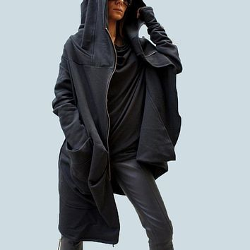 S-5XL ZANZEA Plus Size Women Fashion Zipper Hooded Asymmetrical hem Coat Outwear Jacket Hoodie Sweats Sweatshirt