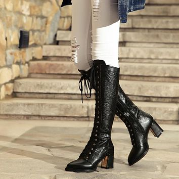 Black Leather Lace Up Knee High Boots