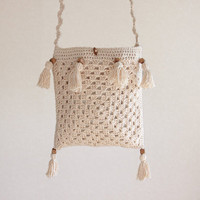 Crochet bag - Pure Cotton, Cream, Natural, Handmade, Silk lining, Crossover, Shoulder, eco fashion