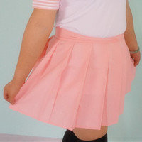 Plus Size Pastel Cute Baby Pink Sailor Seifuku School Uniform Pleated Skirt Only SP140888 from Plus Cutie