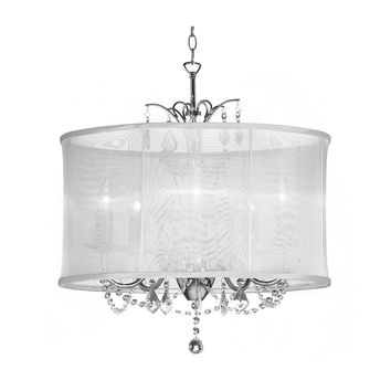 5 Light Polished Chrome Maple Droplets Crystal Chandelier with White Organza Shade