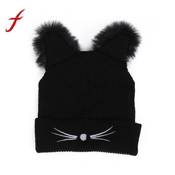 Feitong Winter Women Hat Lovely Baggy Warm Crochet Wool Knitted Ski Beanie Skull Slouchy Caps Hat Bonnet Beanies 2017 Fashion