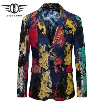 Floral Blazer Men New Autumn Slim Fit Men Casual Blazer Colorful Stage Clothing Prom Blazers
