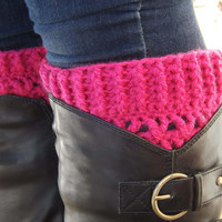 Boot Cuffs - Hot Pink Boot Socks - Raspberry Pink Boot Toppers - Winter Accessory - Boot Warmer - Boot Accessory - Fashion Accessory