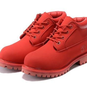 PEAPON Timberland Rhubarb Boots 23061 Red Waterproof Martin Boots